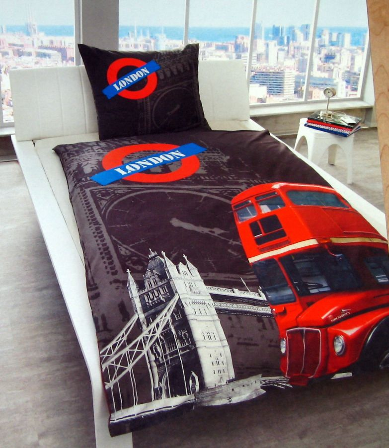 hochwertige fotodruck london bettw sche 100 baumwolle 135 x 200 cm foto bus ebay. Black Bedroom Furniture Sets. Home Design Ideas
